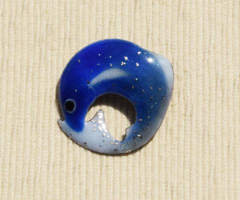 青い魚 丸 プラチナ箔使用