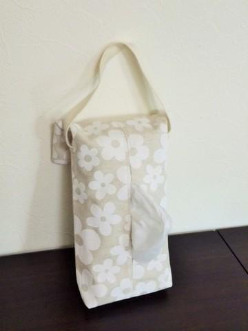 モノトーン花柄ティッシュBOXカバー(白)