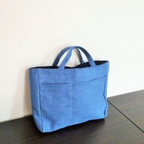 リネンのバッグinバッグ(明るいブルー)