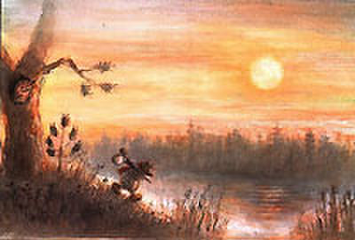 V.オリシヴァング画「ハリネズミと金貨」絵はがき ★H-No.2