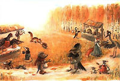 V.オリシヴァング画「ハリネズミと金貨」絵はがき ★H-No.1