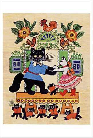 ワスネツォフ絵はがき「ロシアのわらべ歌・遊び歌」 ★V-No.16「ネコくんがいすの上を行ったりきたり」