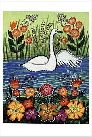 ワスネツォフ絵はがき「ロシアのわらべ歌・遊び歌」 ★V-No.15「白鳥が小川を すーい」