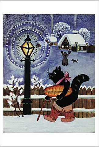 ワスネツォフ絵はがき「ロシアのわらべ歌・遊び歌」 ★V-No.11「ネコくん市場へ行った」
