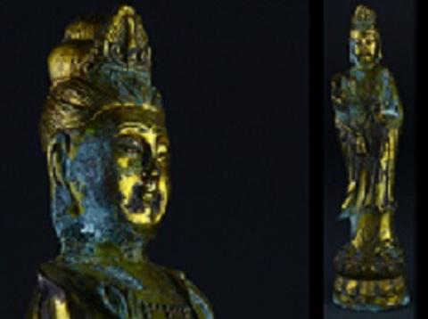 銅鍍金観音菩薩立像(明代)