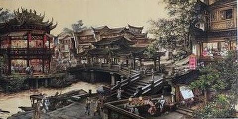 中国掛け軸/巻物 南郷蕾夢図/風景人物画