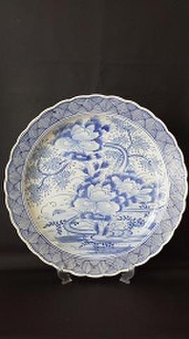古伊万里 牡丹紋花つくし文様大皿 径43.2cm