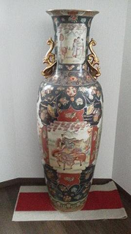 色絵青粒手人物大花瓶(九谷焼)H163cm
