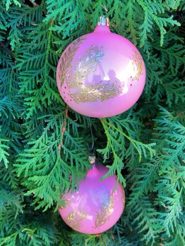 クリスマスオーナメント ピンク大 2個1セット