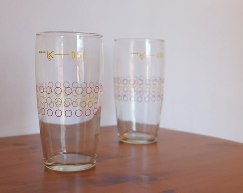水玉模様の可愛らしいビールグラス