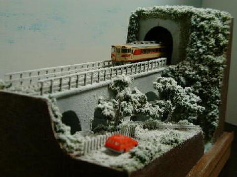 ミニらま11-2 雪の山深い渓谷を渡るロ-カル線