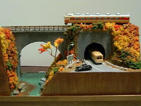 感謝18  紅葉の渓谷とトンネルに入る山道のある風景