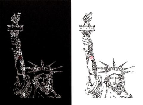 自由の女神ポストカード・白黒2枚SET
