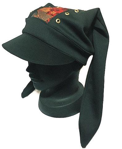 ツバ付きうさ帽子(金襴赤)