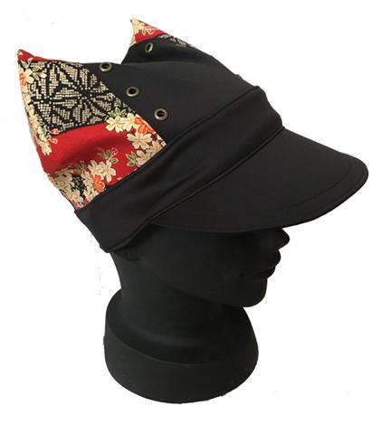 ツバ付きにゃんこ帽子(赤桜・青桜)