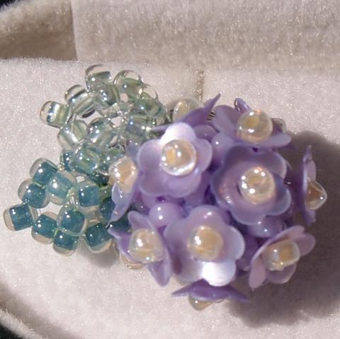 紫陽花のイヤリング【パープル】