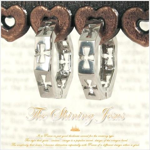 【The Shining Jesus】K10ホワイトゴールドクロスモティーフ ピアス