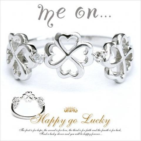 [Happy go Lucky]クローバーモチーフ・ダイヤモンドピンキーリング