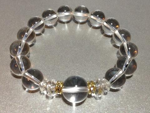 10ミリ白水晶デザインブレス