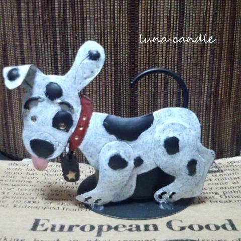 ブリキの犬のティーライトホルダー(白黒)+ティーライト香り付き3個セット