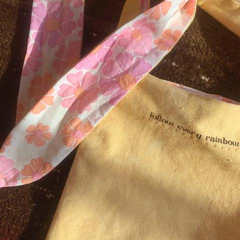 "Reversible""LOVE & PEACE"" pocket bag org/pnk"