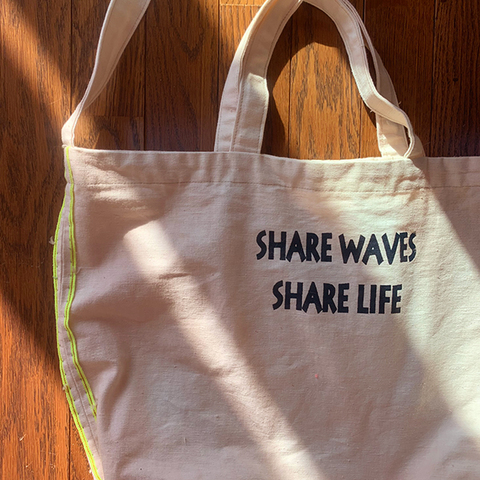 "Selvedge & Overdye ""SHARE WAVES SHARE LIFE""Tote bag"