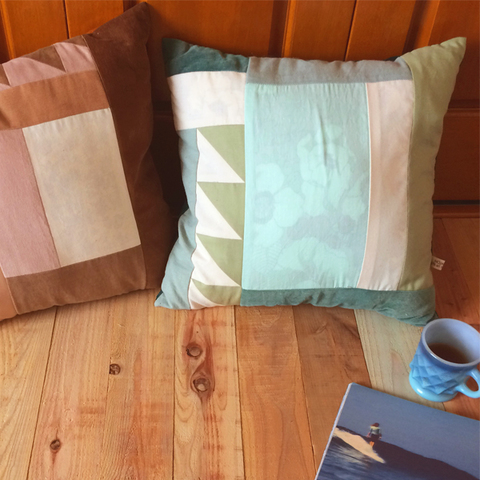 GREEN & MINT PATCHWORK CUSHION
