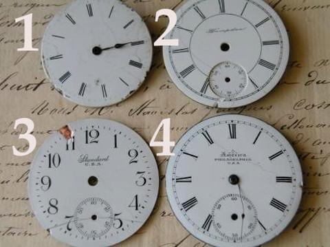 アンティーク ポーセリン 懐中時計の白い文字盤 選べる4種 J