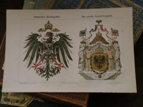 アンティークプリント 大きなエンブレム 古書図鑑より紙片 クロモグラフ