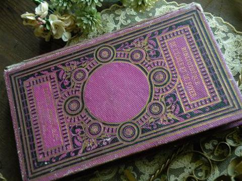 フランス製 アンティーク古書 濃いピンクパープルのサイケデリックな柄