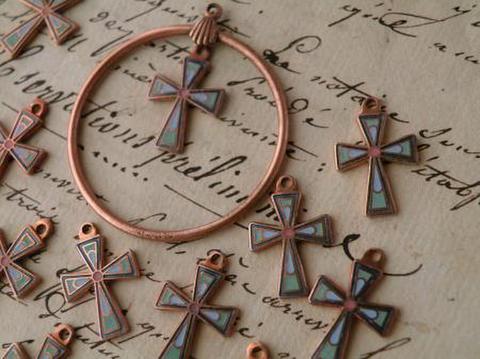 ヴィンテージ 日本製 コパー銅古美 エナメル十字架チャーム