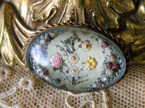 ヴィンテージ 英国製 お花柄インタリオ オバールブローチ