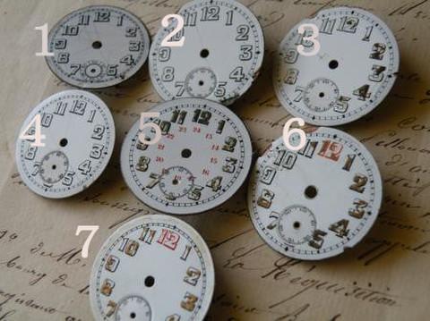 アンティーク ポーセリン 懐中時計の白い文字盤 太い数字 選べる7種 G