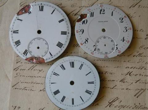 アンティーク ポーセリン 懐中時計の白い文字盤ギリシャ文字 選べる3種 I