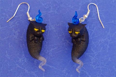 ミニ猫魂.neo(イヤリング、ピアス)黒猫