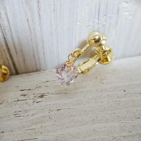 cuillere 宝石質ブラジル産ピンクアメジストのひと粒ハートイヤリング アレルギー対応ニッケルフリーゴールドメッキ本体 ピアス変更不可作品 定形外郵便送料無料