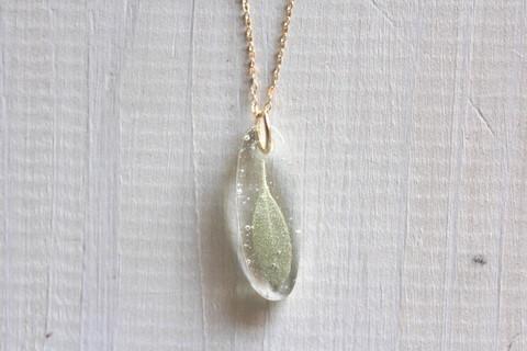 cuillere 14kgfホワイトセージネックレス 自家製自然栽培ホワイトセージUVレジン封入 定形外郵便送料無料
