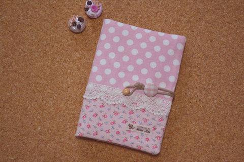 ピンクドット×花柄母子手帳ケース(Mサイズ)