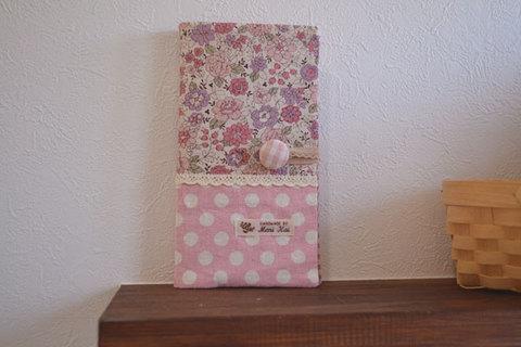 ピンク花柄×ドットカードケース