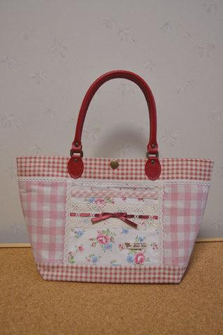 ピンク花柄チェックトートバッグ