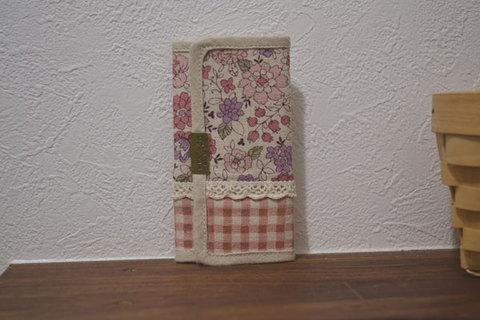 ピンク花柄チェック4連キーケース