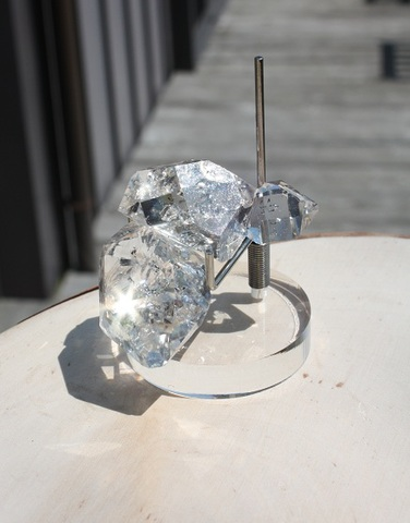 レインボー入りハーキマーダイヤモンド 3連原石