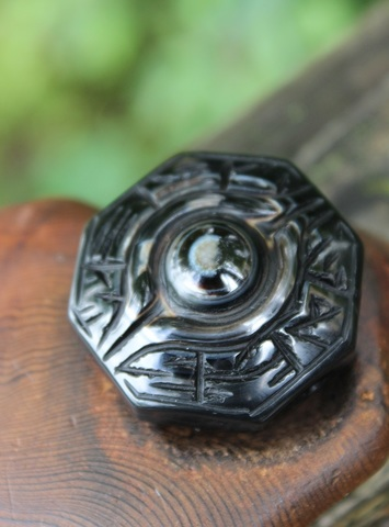 裏には「太局八卦図」も! チベット密教法器(天眼石) 手彫り「神眼」