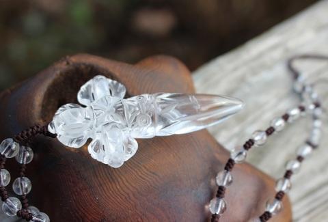 激レア1点もの! 水晶十字金剛杭(プルパ)チベット密教法具ネックレス