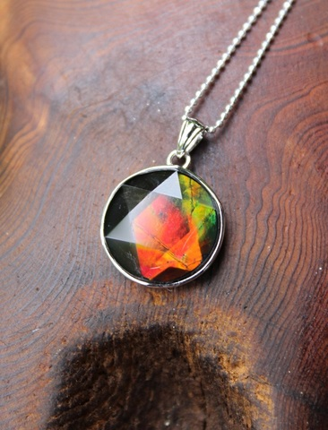 激レア!「七色の繁栄の石」 宝石質 六芒星(ヘキサグラム)型アンモライト ペンダント