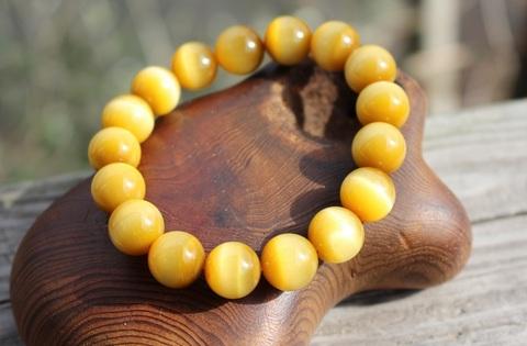 富貴の石 ハニーキャラメル色 極上ゴールデンタイガーアイ12.5ミリ丸玉 ブレスレット