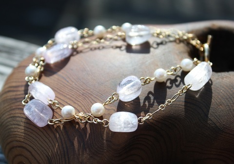 天使の安らぎ クンツァイト&本真珠 2連ブレスレット