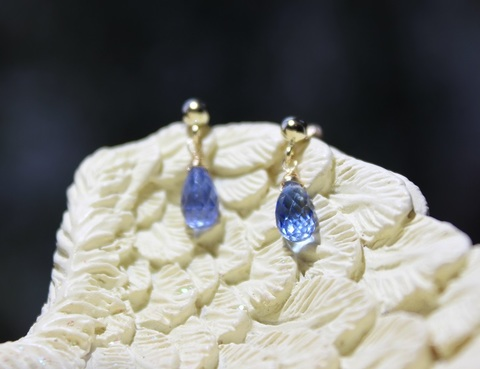サファイアブルー 宝石質カイヤナイト ピアス