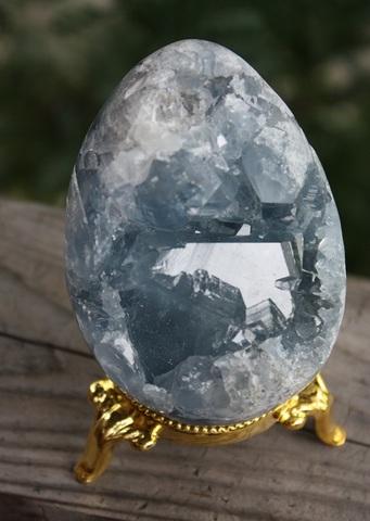 天使の宿る石 セレスタイト(天青石) 特上エッグ型原石置物