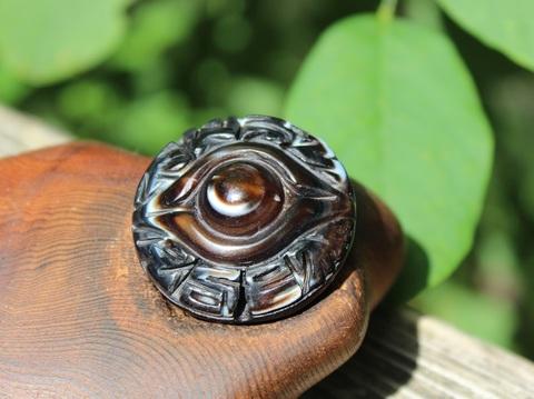 レア! チベット密教法器(天眼石) 手彫り「神眼」